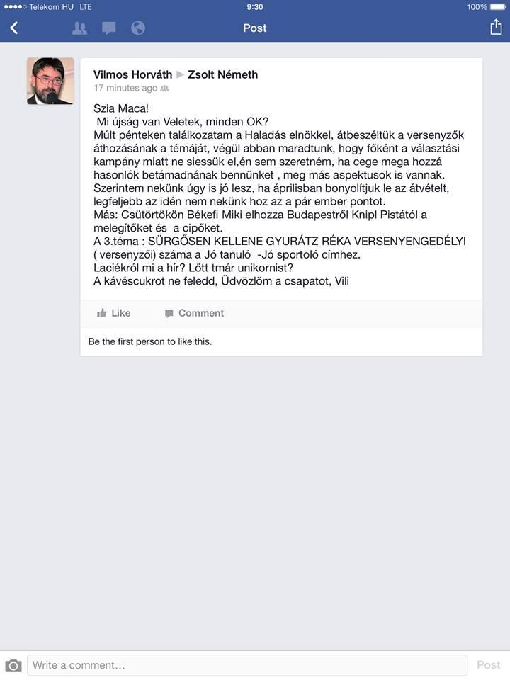 Horváth Vili megüzente
